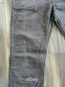 Vintage Carhartt Double Front Knee Distressed Work Trousers Pants Brown 30 Waist