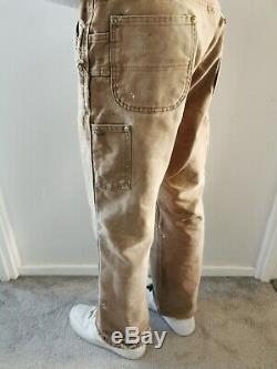 Vintage Carhartt Double Knee Distressed Work Trousers Pants Brown Tan W30 L29