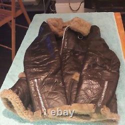 Vintage Distressed Genuine 100% Leather Sheepskin Flying Jacket size (M)