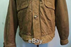 Vintage Distressed LEVI'S Leather Trucker, Lumberjack Jacket Size L
