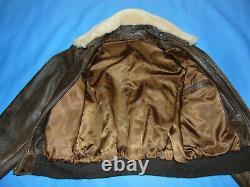 Vintage Distressed Schott Leather Jacket Bomber Brown Lambskin Sheepskin 42 USA