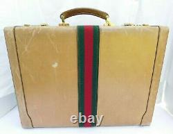 Vintage Gucci Supreme Web Leather Briefcase Tan Leather Hipster Distressed