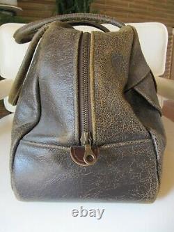 Vintage Jas MB London Distressed Brown Leather Travel, Duffel, Gym Bag