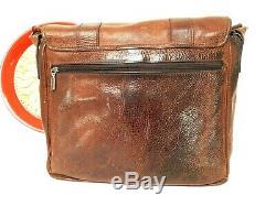 Vintage John Fluevog 240 Wagon Distressed Leather Laptop Messenger Compter Bag