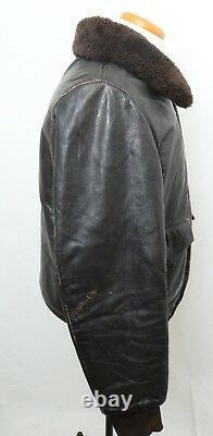 Vintage L. L. Bean Distressed Leather Fur Collar Shearling Lined Coat Men's M