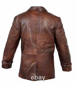 Vintage Mens Brown Distressed Cow Hide 100% Real Leather Coat Jacket