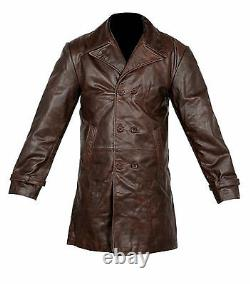Vintage Mens Brown Distressed Cow Hide Real Leather Long Trench Coat Jacket Uk