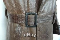 Vintage Original WW2 German Horsehide Leather Military Officers Trench Coat 42S