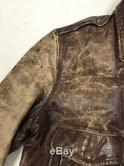 Vintage Outerwear Steerhide Genuine Leather Jacket Distressed Talon Zipper