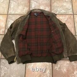 Vintage Polo by Ralph Lauren Suede Leather Bomber Jacket Mens Size XL Distressed