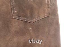 Vintage Ralph Lauren Polo jeans leather pants dark brown distressed men's 32