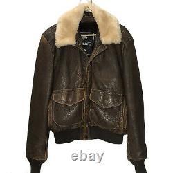Vintage Schott Leather Jacket 42 Bomber Brown Lambskin Sheepskin Distressed USA