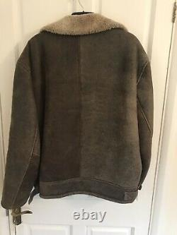 Vintage Shearling Distressed Leather Genuine Sheepskin Flying Jacket