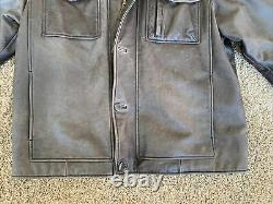 Vintage Timberland Mens Sz LARGE Lightly Distressed Casual Brown Leather Jacket