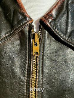 Vintage Vanson Oxford size 44 Cowhide Leather Jacket Zip out Lining Distressed