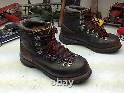 Vintage Vasque Distressed USA Brown Leather Lace Up Mountaineer Boss Boots 9 D