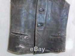 Vintage WW2 British Army Issue Soldiers Distressed Leather Jerkin Jacket Size 38