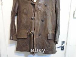 Vintage Ww2 Distressed Horse Leather Barnstormer Jacket Size XL Bearskin Collar
