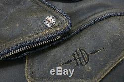 Vintage mens harley davidson billings jacket 3xl xxl brown distressed braided