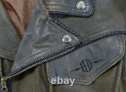 Vintage mens harley davidson leather jacket M billings brown distressed zip bar