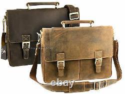 Visconti Large Distressed Hunters Leather Briefcase Shoulder Laptop Bag 18716