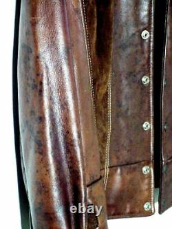 Vtg 60s 70s Distress Pioneer Wear Hipster Brown Leather & Suede Jacket Sz 38 /S