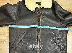 Vtg B-3 Style Genuine Shearling Sheepskin Aviator Pilot Flight Jacket Coat XL