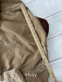 Vtg Carhartt Detroit Distressed Brown Blanket Lined Canvas Work Jacket USA SMALL