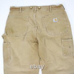 Vtg Carhartt Double Front / Knee Pants Fade Paint Distress Grunge Workwear 34x28