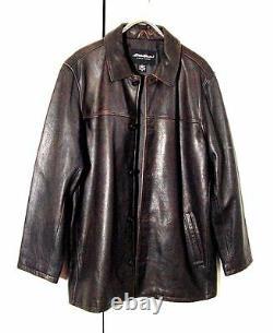 Vtg Distress Eddie Bauer Supernatural Field Button Brown Leather Jacket Sz XL