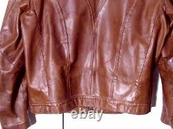 Vtg Distressed 60s 70s USA Made Brown Rome Cafe Moto Jacket Sz 42 /M