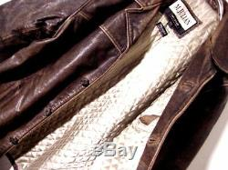 Vtg Distressed Wilsons M Julian Brown Gray Quilted Button Leather Jacket Sz 2XL