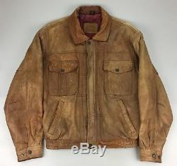 Vtg LEVIS Strauss Leather Motorcycle Jacket Brown Distressed Mens Medium Bomber