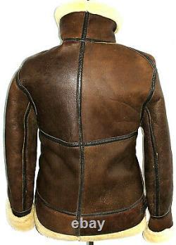 Vtg Mens Burberry Distress Eleather Sheepskin Shearling Aviator Jacket Coat 42r