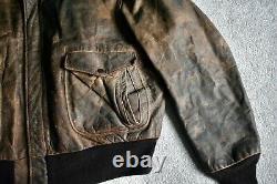 Vtg SCHOTT Distressed Leather Bomber Flight Jacket Coat With Liner & Collar 48/50