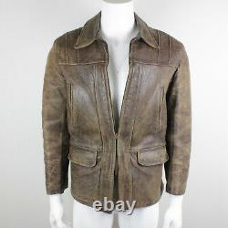 Vtg Windward Horsehide Highwayman Leather Jacket Mens M Distressed 40s Moto
