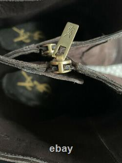 YSL Rive Gauche Brown Distressed Croc Embossed Men's Boots Size 41 EU