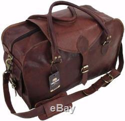 Yuge Bear 24 C50 Vtg Mens Genuine Leather Travel Suitcase Duffel Carry On Bag