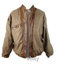 Yves Saint Laurent YSL Bomber Leather Jacket Coat Distressed Biker Pilot Mens L