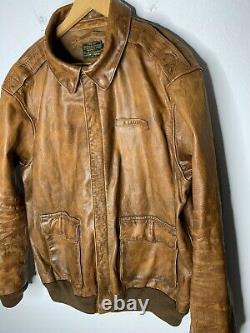 $1295 Nouveau Polo Ralph Lauren A2 XXL Brown Distressed Leather Jacket Bomber Rrl