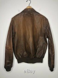 $ 1295 Nouveau Polo Ralph Lauren Grand Brown Distressed Veste En Cuir Rrl A2 Bomber