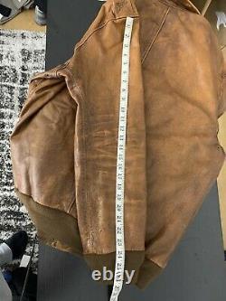 1298 $ Nouveau Polo Ralph Lauren A2 XXL Brun Détresse Rrl Veste En Cuir Bomber