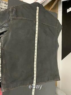 $1298 Polo Ralph Lauren Grande Veste En Cuir Brun Noir Rrl Cafe Racer Vtg Coat
