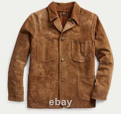$2200 Nouveau Rrl Ralph Lauren X-large Suede Chore Coat Brown Leather Jacket Cowboy