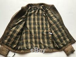 $ 2200 Rrl Ralph Lauren Années 1920 Distressed Newsboy En Cuir De Vache Veste En Cuir XL -men-