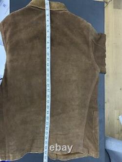 $ 2200 Rrl Ralph Lauren Petit Suede Corvée Manteau Veste Marron En Cuir Cowboy Polo