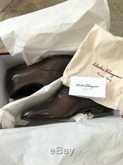 750 $ New Salvatore Ferragamo Chaussures Hommes Brown Distressed Peinture Taille 8 Us Uk 7 41