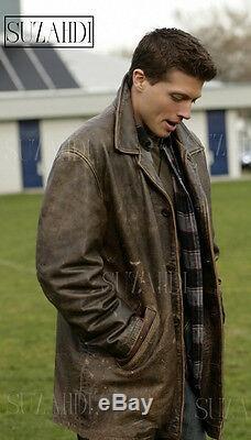 Accurate Screen Dean Winchester Supernatural Distressed Brown Veste En Cuir