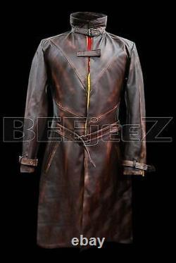 Aiden Pearce Montre Chiens Couche En Cuir Élégant Trench-coat Marron En Désir