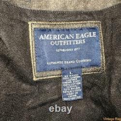 American Eagle Lambskin Cuir Cafe Courser Veste Hommes Taille L Marron Décontraction